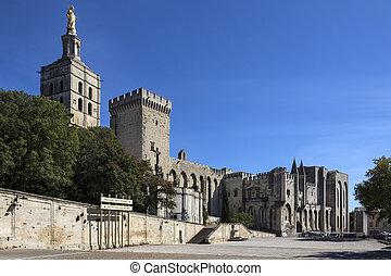 Avignon - France - Avignon Cathedral and the Palais des...