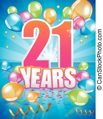 21 years birthday card full vector elements