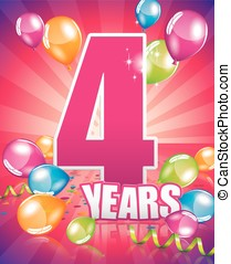 4 years birthday card - 3 years birthday card full vector...