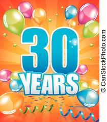 30 years birthday card full vector elements