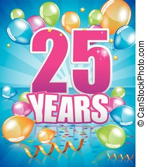 25 years birthday card full vector elements