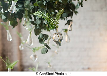 Elements of rustic wedding decoration - Green leaves of fern...
