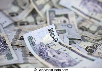 Close-up view of five hundred Riyal, Saudi Riyal notes...
