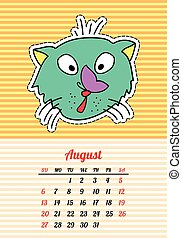 Calendar 2017 with cats. August. In cartoon 80s-90s comic style fashion patches, pins and stickers. Pop art vector illustration. Trendy colors