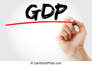 Hand writing GDP (gross domestic product) with marker,...