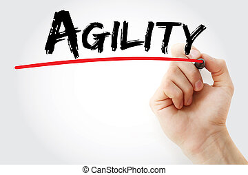 Hand writing Agility with marker, concept background