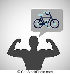 silhouette man bodybuilder bicycle