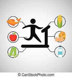 sport man walking machine nutrition health