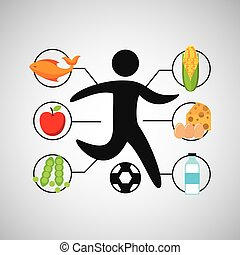 sport man soccer nutrition health vector illustration eps 10