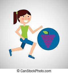 girl jogger grape healthy lifestyle vector illustration eps...