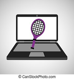 sport laptop app concept racket