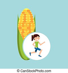 girl jogger corn cob healthy lifestyle vector illustration...