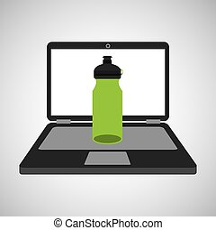 sport laptop app concept bottle water