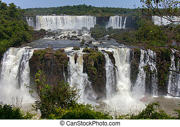Iguazu Falls, one of the world's great natural wonders, on...