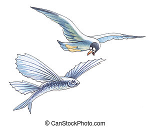 The seagull and flight fish - The seagull is surprised to...