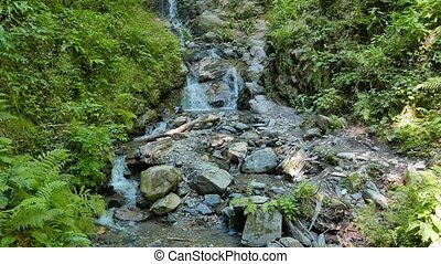 Waterfall on the trail of health Rosa Khutor. Sochi, Russia....