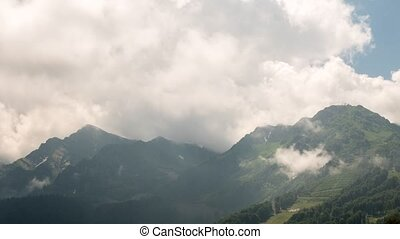 The tops of the clouds. Panorama. TimeLapse. Rosa Khutor,...