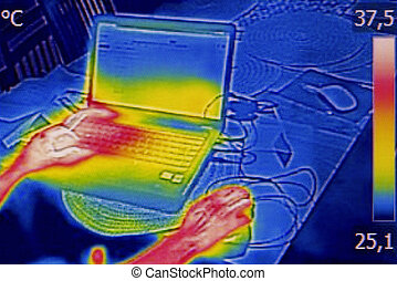 Infrared thermography image showing the heat emission when...