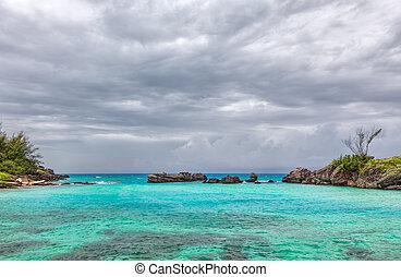 nubes, tabaco, encima, bahía, Bermuda, Tormenta, george's,...