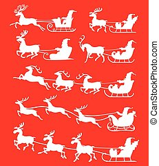 Christmas silhouette Santa Claus set icon on red background...
