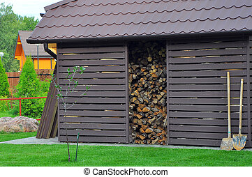the place for storage of firewood in a country house