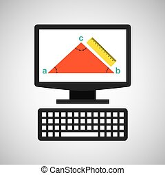 online education technology geometry triangle vector...