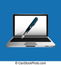 online education concept writing pen design