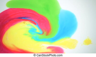 Beautiful movement of bright colors on a white background....