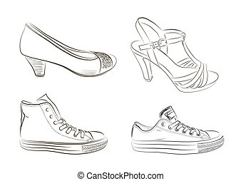 Set of hand drawn men and women shoes. Vector illustration.