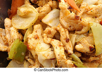 Chinese food. Chicken with hot sauce. Closeup.
