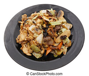 Chinese food. Chicken pork and veal with vegetables