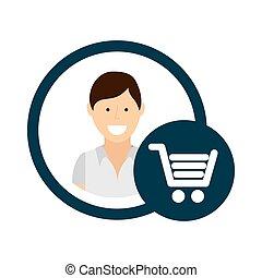 character shop cart social media concept
