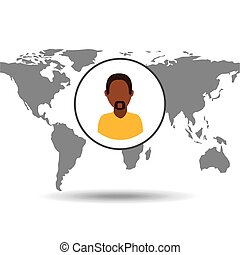 afroamerican man social media world map