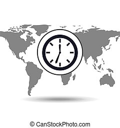 clock time social media world map