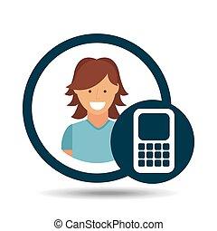 character girl calculator social media concept vector...