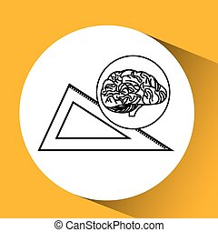 measuring tool brain school knowledge vector illustration...