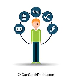 man green sweater standing with social network icon vector...