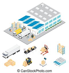 Warehouse Industrial Area Isometric - Warehouse industrial...