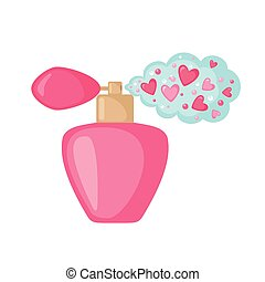 Perfume icon with hearts cloud. - Perfume icon with hearts...