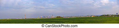 view over acre to skyline of Frankfurt