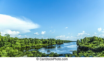 view to the river Mississippi with its wide river bed and untouched nature