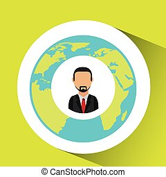 businessman social media world map