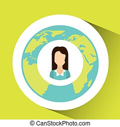 cartoon woman social media world map