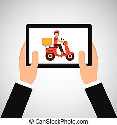 hand hold delivery food boy on scooter vector illustration...