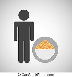 silhouette man pasta in bowl nutrition healthy vector...