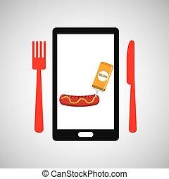 smartphone order sausage food online vector illustration eps...