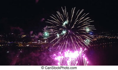 Night-time aerial shot of the Fireworks at City Holyday
