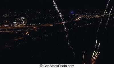 Night-time aerial shot of the Fireworks