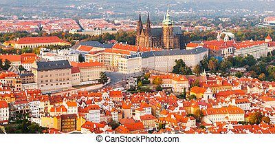 Evening panoramic aerial view of Prague Castle complex in...