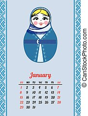 Calendar with nested dolls 2017. Matryoshka different...